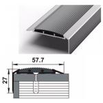 Порог-угол Д70 57,7х27мм алюминиевый анодированный Серебро вставка серая (НЕ) длин 0,9м